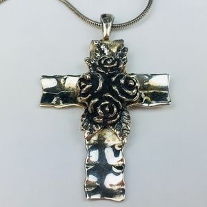 Israel Sterling Cross Pendant Sculpted Roses 18""